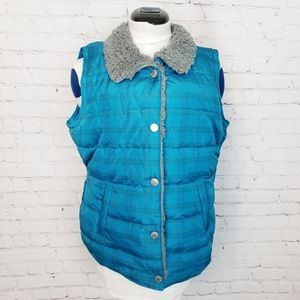 Maurices|Blue Plaid Sherpa Collar Puffer Vest